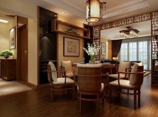 餐厅镜面的冷硬更好的突出了中式古典的柔雅,120平,150000万,中式,三居,效果图,