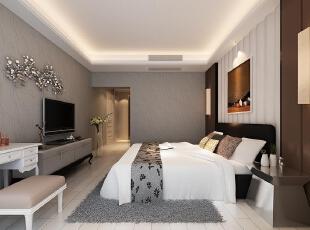 卧室设计理念:主卧作为业主休憩的场所,已不再需要过多的装饰,浅色、大地色的运用让它回归至身心放松的圣地。,复式,200平,效果图,250000万,欧式,