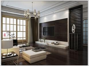 地面和背景墙都采用比较深的地板,让室内空间更加稳重,顶面采用金字塔吊顶,寓意业主在事业上步步高升,施工图,三居,现代,5万,效果图,102平,