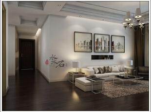沙发后面做了一个小的壁龛,让墙面更加丰富,施工图,现代,三居,5万,效果图,102平,