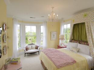 ,卧室,欧式,黄色,