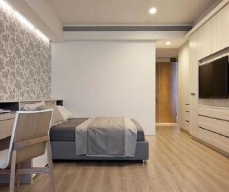 简约线条白色三室 现代风...