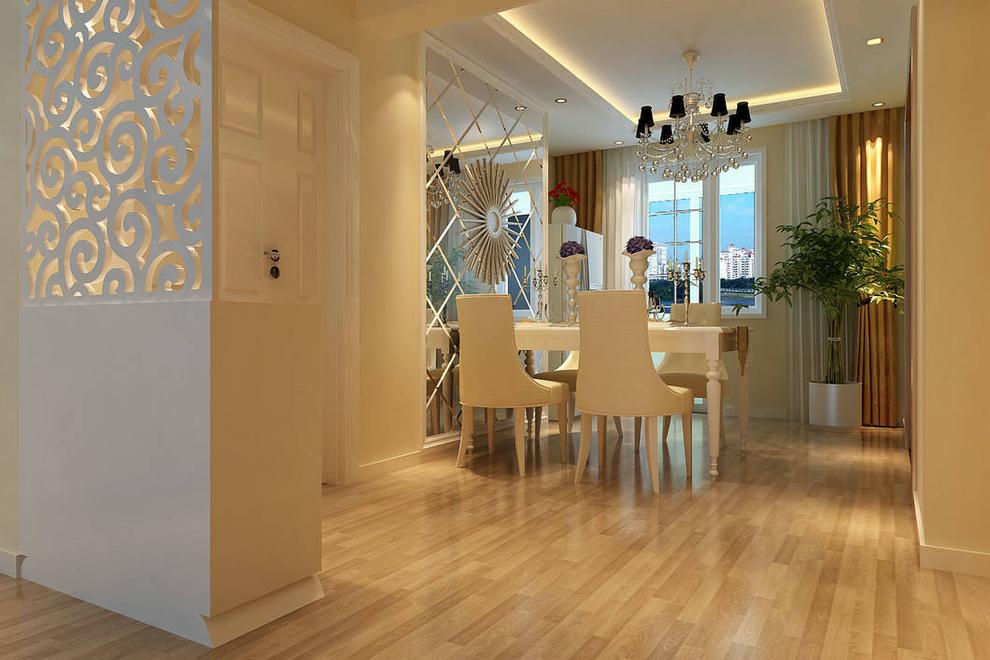 墙面的欧式壁纸与实木线条搭配的完美,和谐.