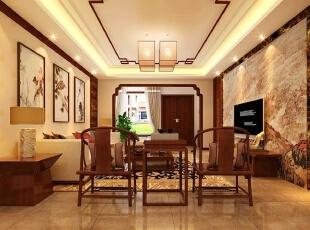 东胜紫御府15b跃层户型301㎡新中式风格装修设计效果图图片