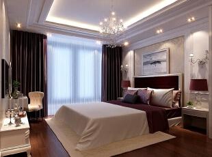 床头大面护墙板,和同色系墙纸的搭配,再加精致的灯具,会使卧室空间图片