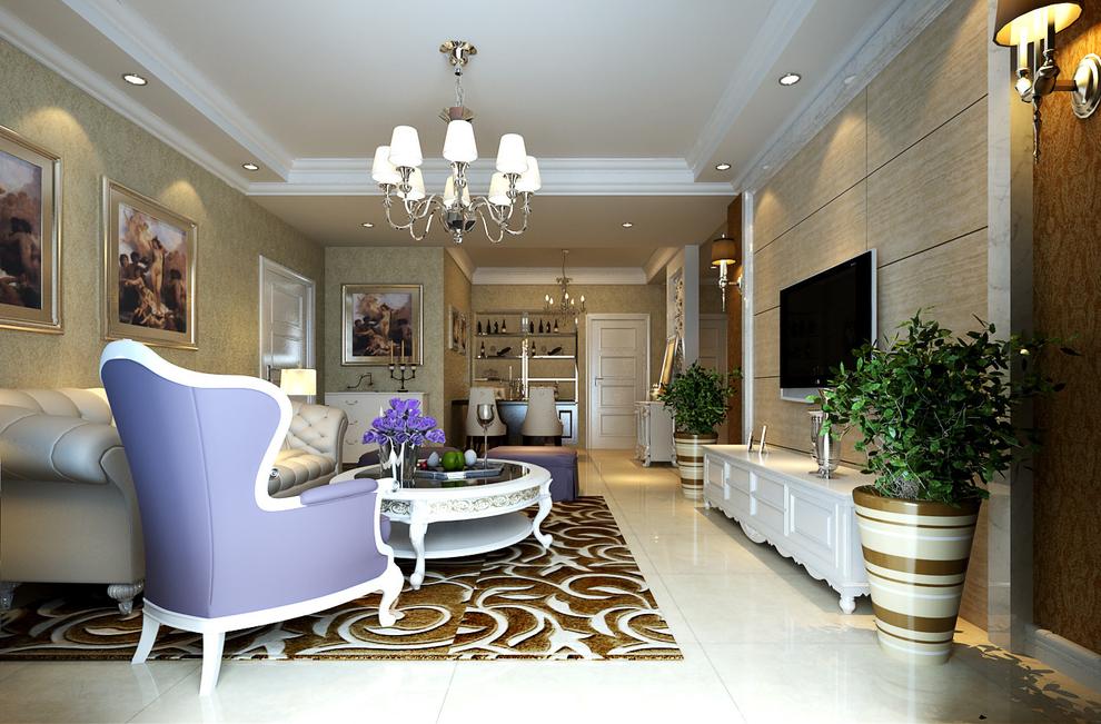 升龙城130平简欧风格装修效果图——客厅图片