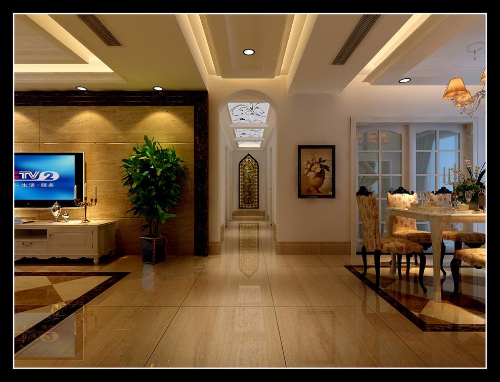 玄关造型是一副工艺彩绘玻璃,增加过道的净身感