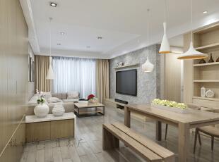 简约大气 简约北欧风格 现代北欧风格餐厅 客厅,90平,两居,餐厅,客厅