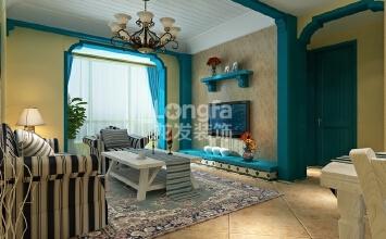 石家庄【棕榈湾】88平两居地中海风格装修效果图
