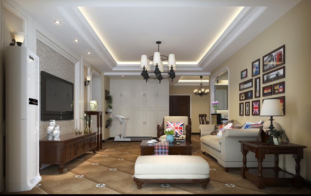 客厅空间比价宽敞,过道是弓形门套定制,顶面2次吊顶石膏线走边,层次感