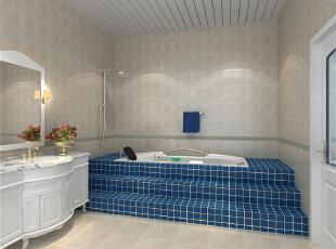 卫生间台阶式的浴缸设计丰富了设计理念,给你疲惫的身心找到释放的图片