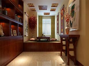 中国铁建·山语城170平-书房 简单的条案,简单的茶海,简单的中式踏踏图片