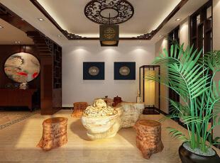 中式四居-上海实创装饰打造190平新中式风格四居室装修效果图