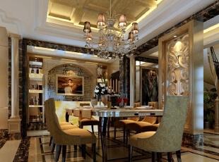 【南昌实创整体家装】-庐山西海古典欧式餐厅设计效果