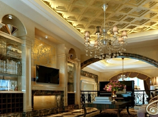 【南昌实创整体家装】-庐山西海古典欧式起居室设计效果