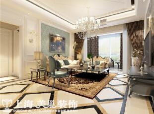 昌建誉峰170平简欧风格装修效果图--客厅