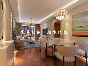地面采用了地砖和木地板相结合的手法,满足了客户对于两种材料的喜爱。电视墙则采用了对称的处理手法,使得空间显得比较整。