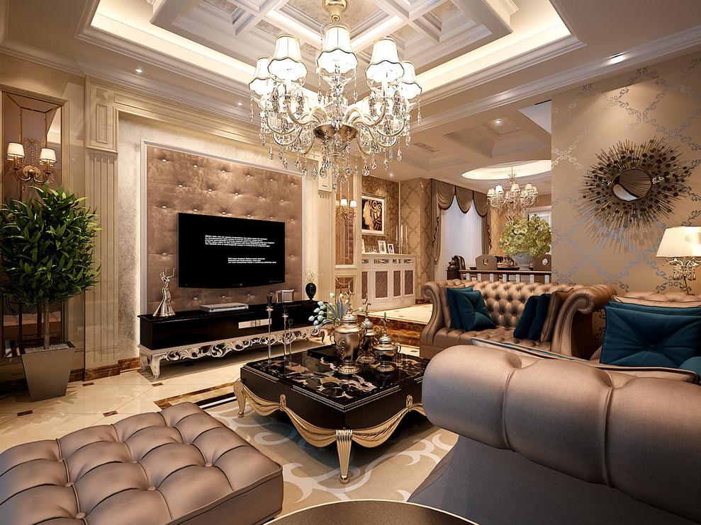 佘山溪语别墅户型装修欧式古典风格设计方案展示,上海聚通装潢最新