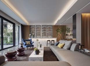 中式别墅-270平现代新中式风格联排别墅装修石材与实木的遇见