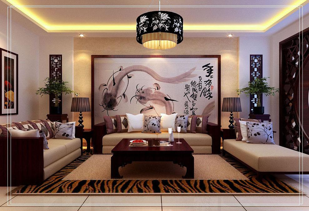 本户型为三室两厅一厨两卫的户型,新中式风格装修设计效果图.