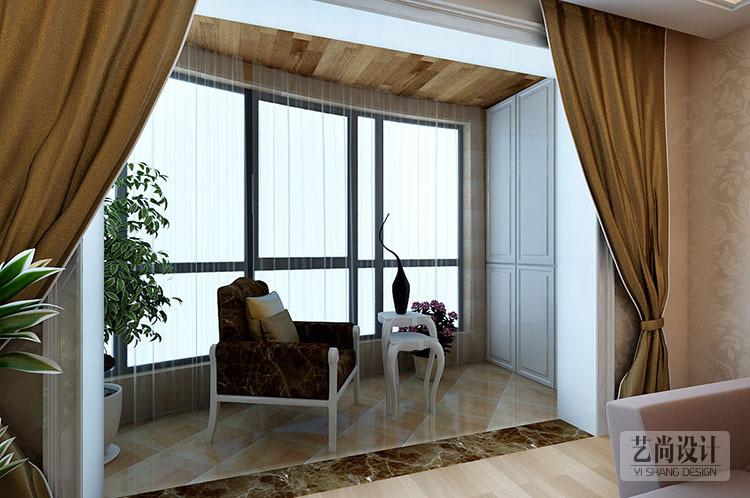 财信圣提亚纳三室两厅样板间装修效果图---阳台休息区装修图