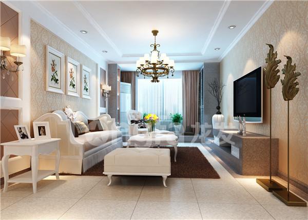 保定绿都皇城小区135平米三居简欧风格装修效果图案例