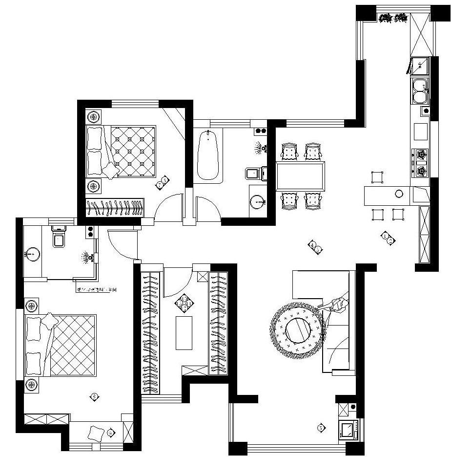 阳光城三室两厅135平方美式田园装修效果图