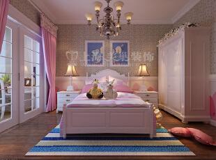 昌建誉峰168平四室两厅美式乡村案例效果图——公主房,本案摒弃了浮躁图片