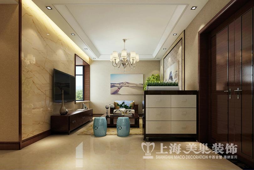 新中式风格客厅装修效果图---简单的吊顶,外翻灯池,坡面石膏线等元素