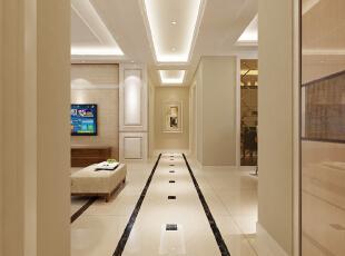走廊较长,地面简单的拼花打破平淡感,打造出典雅家居质感.图片