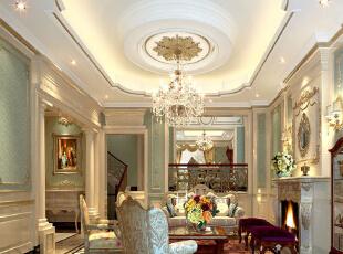 淡绿色的壁纸 加上白色的石膏线 及吊顶 简欧的家具 配上简欧式的壁炉图片