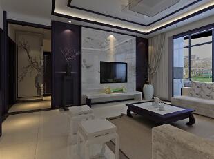 中式装修效果图案例——客厅电视背景墙,传统的对称美,两边用护墙板图片