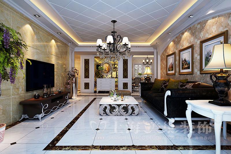 升龙国际133平三室两厅简欧风格装修效果图图片