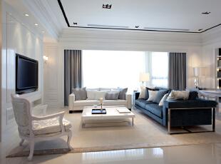 北京紫禁尚品国际装饰—客厅 主要以白色调为主 考虑到如果全是白色的,会显得太过于单一 用一个深色的沙发来做点缀 使得屋子里不是太单一 暖色的灯光打上 空间舒适 明亮,153平,32万,简约,四居,客厅,白色,绿色,黄色,