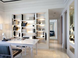 北京紫禁尚品国际装饰—书房 主要以白色调为主 白色的书桌 白色的书柜 再加上淡白色的地砖 整体用暖色的灯光来衬托 不会显得很冷 而是特别的温馨 舒适,153平,32万,简约,四居,白色,绿色,书房,