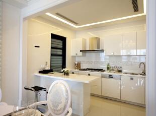 北京紫禁尚品国际装饰—厨房 整体以白色的橱柜 白色的家具搭配 显得整洁 干净,153平,32万,简约,四居,厨房,白色,黄色,
