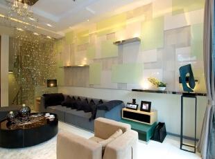 北京紫禁尚品国际装饰—客厅 沙发背景墙的设计, 浅绿色的格子, 清新 随意的搭配着 加以水晶的亮片隔断,既在视觉上扩展了空间,又产生一种朦胧的浪漫和性感。,378平,68万,现代,别墅,客厅,绿色,黑白,黄色,