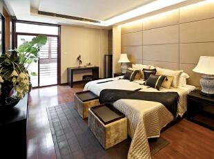卧室:简单舒适的卧室,可以让业主放下一天的疲惫,简单的床柱让业主更有安全感,481平,30万,中式,别墅,