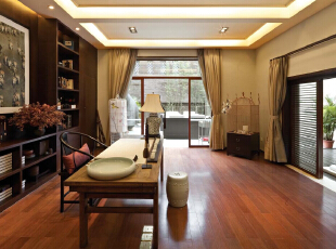 书房:书香气息浓重,宣纸和振尺将中式文化表现到最大,481平,30万,中式,别墅,