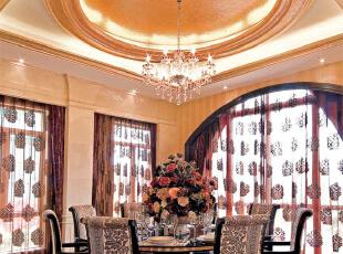 北京紫禁尚品国际装饰—餐厅 餐厅的灯光很重要既不能太强又不能太弱,顶部做了圆的吊顶。 简单的吊灯,277平,57万,简约,三居,餐厅,黄色,红色,黑白,