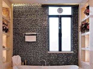 北京紫禁尚品国际装饰—卫生间 主要以暖色的瓷砖为主 在加上 黑白色的马赛克 来做点缀的,277平,57万,简约,三居,卫生间,黑白,黄色,