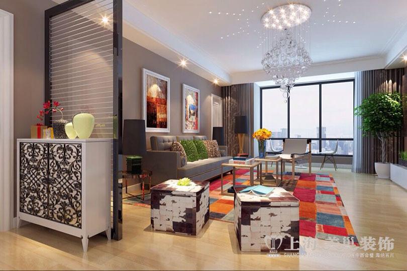 博瑞花园142平现代简约风格3室2厅样板房装修案例--客厅装修效果图
