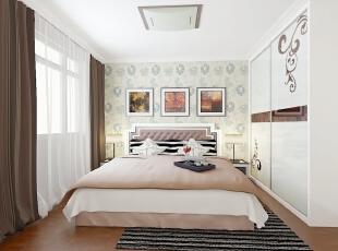,89平,8万,两居,现代,卧室,白色,