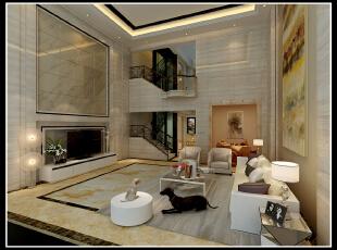 ,280平,45万,现代,别墅,客厅,白色,