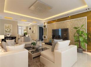 设计理念:简约温馨式的客厅不能用太过复杂的装饰,同时色彩方面一定要柔和。 亮点:开阔大气的电视背景墙配上浅色茶镜,彰显出简单而又时尚的感觉,同时石膏板装饰柜摆放上两张家庭照又点缀出家庭和谐,130平,11万,现代,三居,客厅,白色,