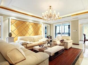 ,160平,25万,欧式,三居,客厅,黄色,