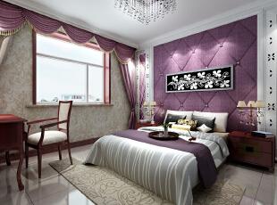 ,180平,12万,三居,欧式,卧室,紫色,