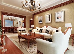 ,190.0平,15.0万,美式,三居,客厅,原木色,白色,