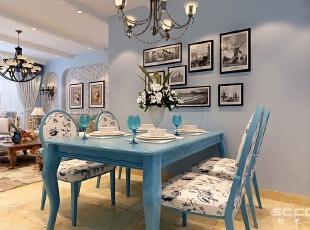 餐厅的布局以简单明了为主题,布置了蓝色的餐桌椅和特色的吊顶。所有的墙面以蓝色墙漆作为装饰,于主题视觉对应,而其生动的造型和高度,使用餐桌区弹性变化成为宴请的空间。,90平,7万,田园,一居,