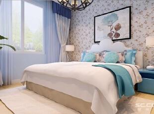 卧室中田园风格的双人床与铁艺吊灯相乎应,简洁中彰显高贵气质。而一幅油画就给整个空间增加了几份艺术的气质。,90平,7万,田园,一居,
